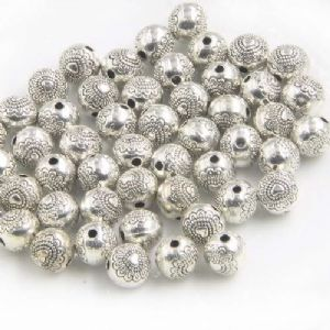 Metal spacer beads, Tibetan silver [an alloy of nickel and copper], Silver colour , Black , Diameter 6mm, 2 Beads, [ZYS0045]